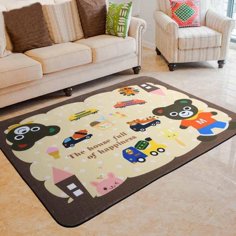 Cute Bear Giraffe Cartoon Carpet For Living Room Soft Carpet Kids Study Room Rugs For Bedroom Computer Chair Folor Mat