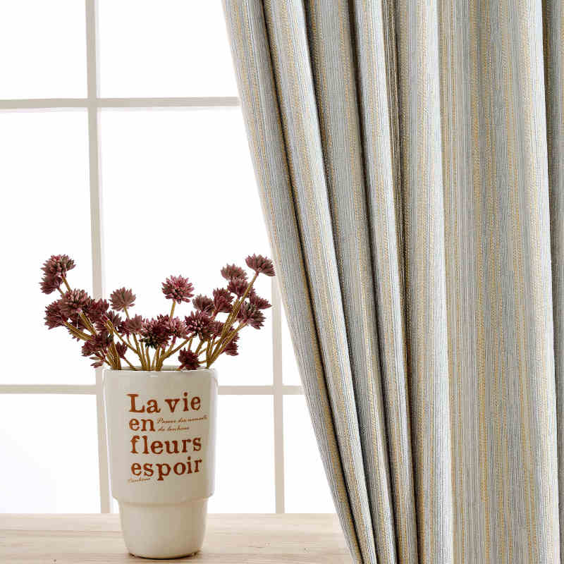 Striped Drapes Cotton Sheer Curtain Jacquard Blinds