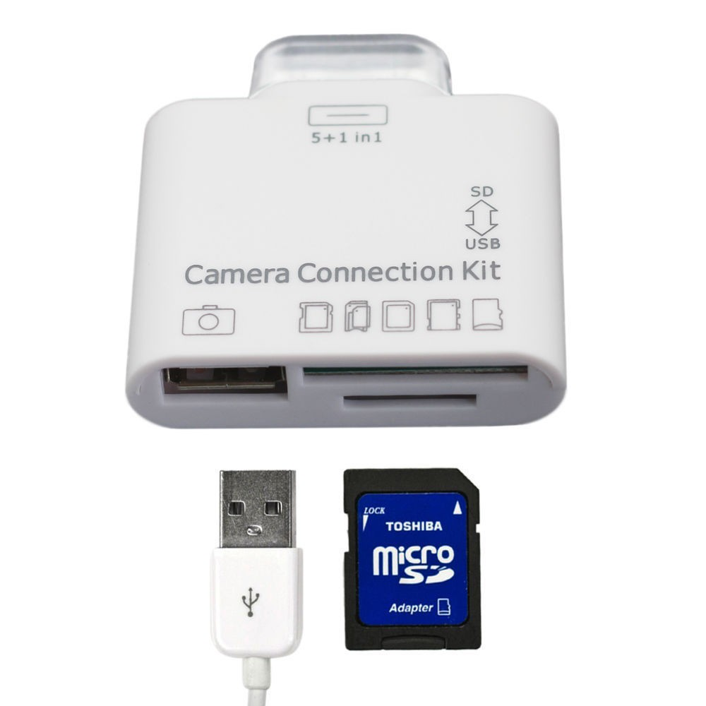 5 in1 USB Camera Connection Kit SDHC TF SD Card Reader Adaptor for Apple iPad 2 3