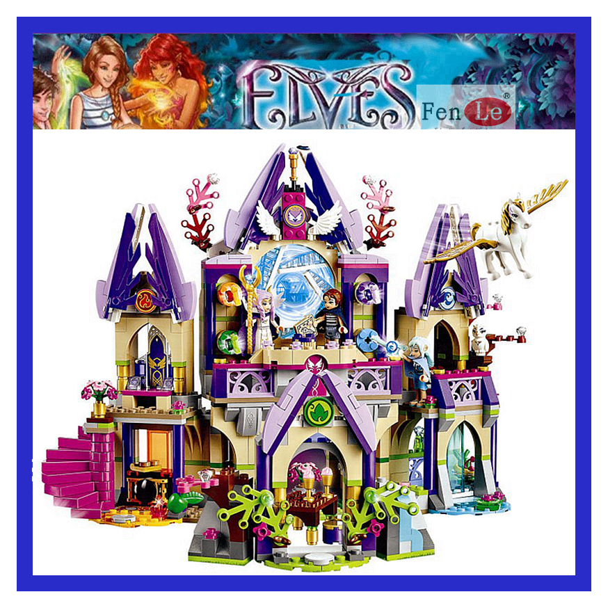 lepin 30001 compatiable bela 10415 friends fairy Elves Skyra's Mysterious Sky Castle model Building Blocks Fairy Tale Girls toys 2017 10415 elves azari aira naida emily jones sky castle fortress building blocks toy gift for girls compatible lepin bricks