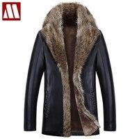 Высокое Качество Зимние теплые пальто мужской Искусственная кожа куртка Для мужчин енота меховой воротник Пальто для будущих мам плюс Разм
