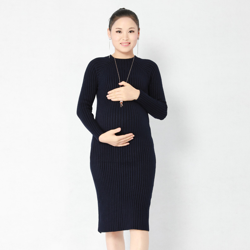 average size maternity dress knitting long sleeve dress Breast feeding dresses clothes Women maternity clothes