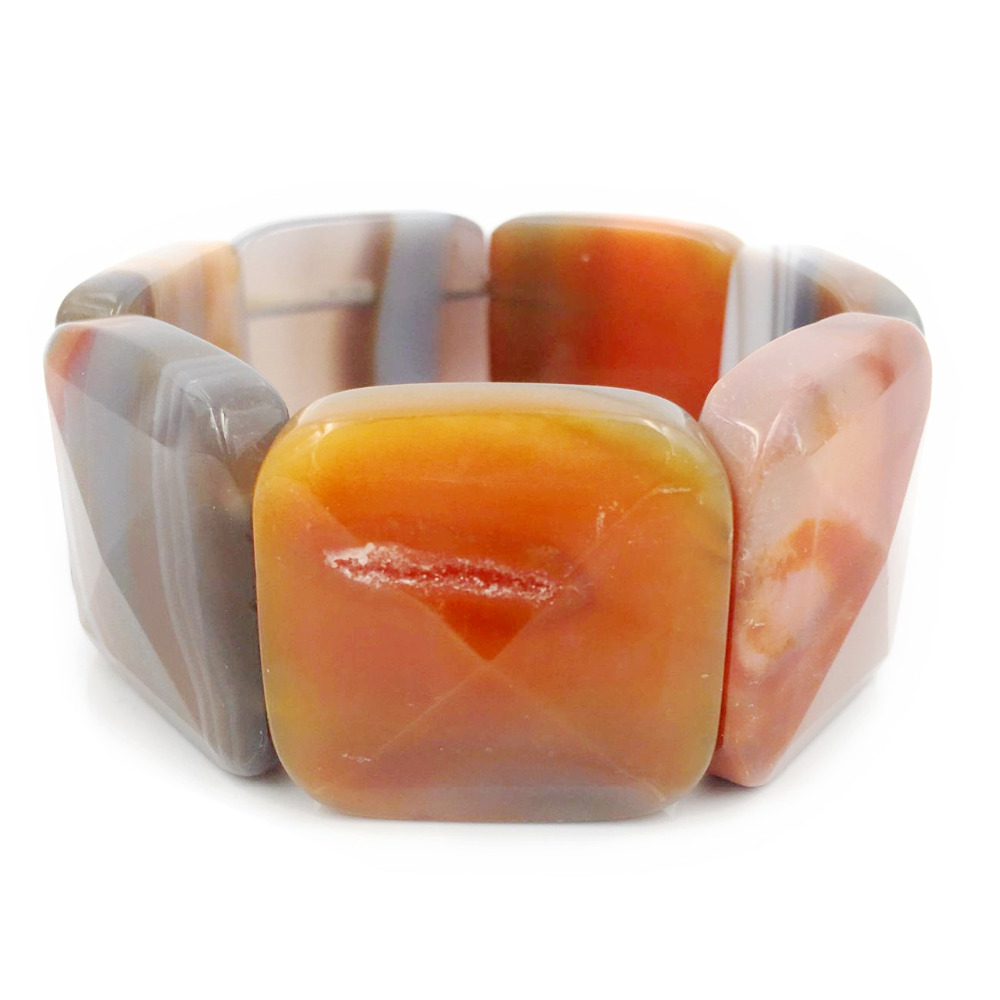 Natural Stone Crystal Agates Big Bracelet Stone Size 30x30mm Total size about 7.5'' 1