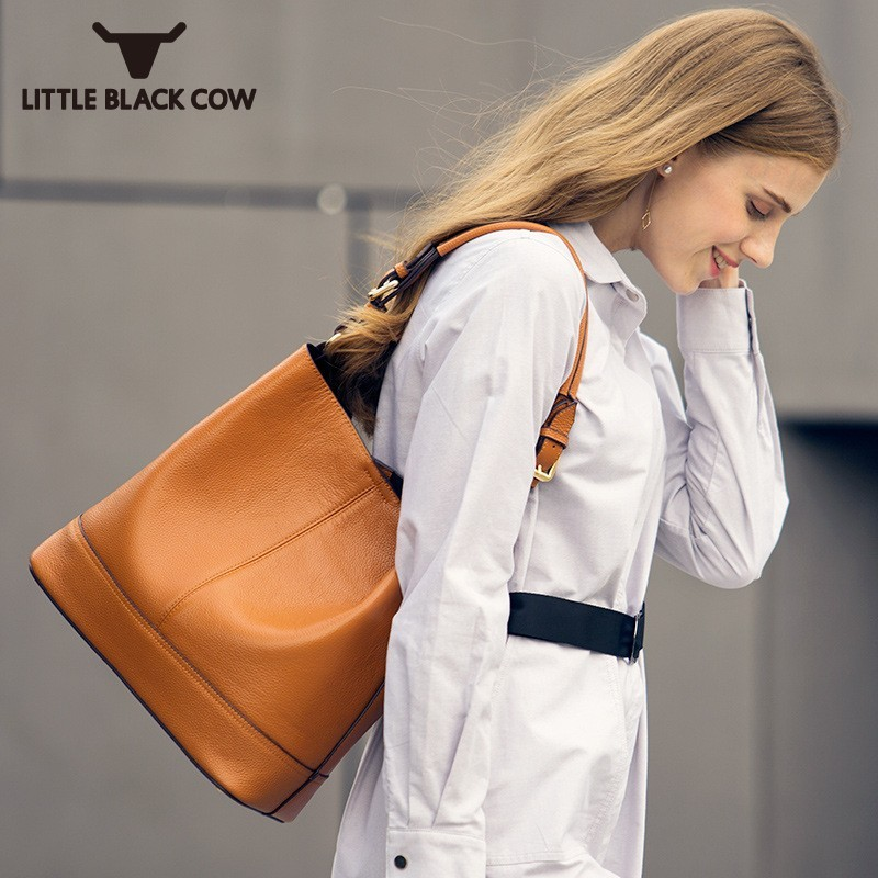 Hot 2018 Fashion Ladies Bucket Bag Crossbody Messenger Real Leather Shoulder Bag Female Work Laptop Tote Bags For Women Korean цена 2017