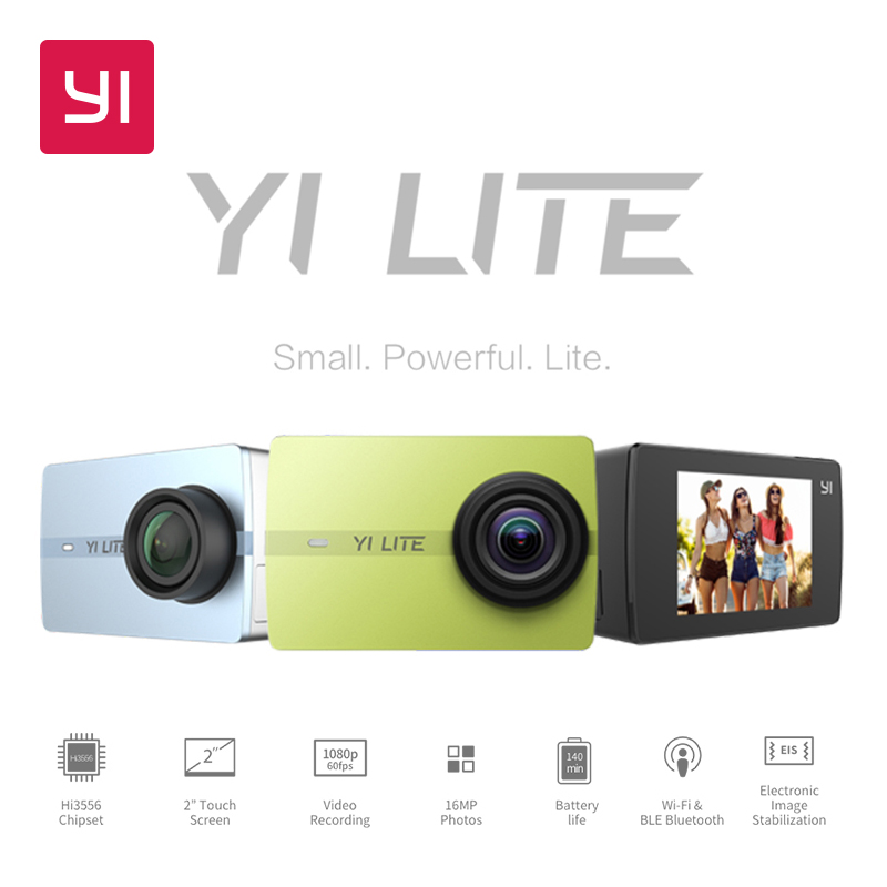YI Lite действие Камера 16MP реального Спортивная камера 4k со встроенным WI-FI 2 дюймов ЖК-дисплей Экран 150 градусов Широкий формат объектив черный