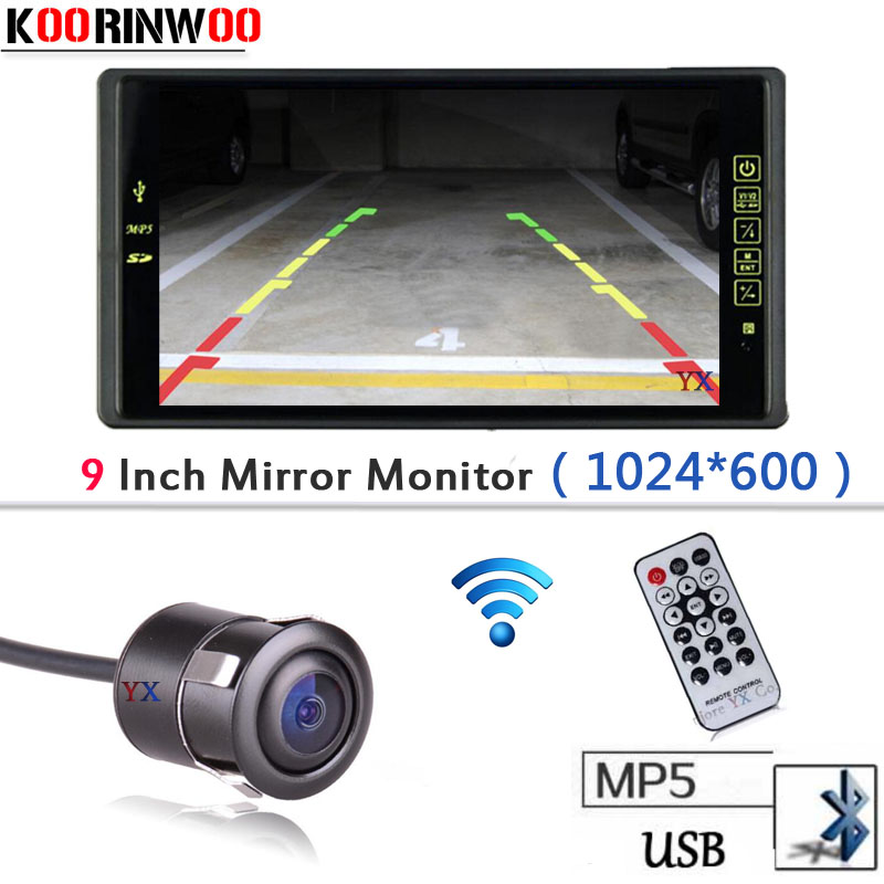 New Arrival Wireless 9 inch LCD TFT Car Monitor 1024*800 Bluetooth MP5 FM with USB SD SLOT Car Rear view camera Parking System wireless adopt 9 lcd tft 1024 800 car monitor with bluetooth mp5 mp4 fm usb sd slot video input parking car rear view camera