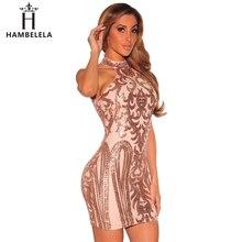 HAMBELELA Women Sexy Dresses Party Night Club Sparkling Black Gold Sequin Dress Summer 2017 Evening Vestido Sexy Bandage Dress