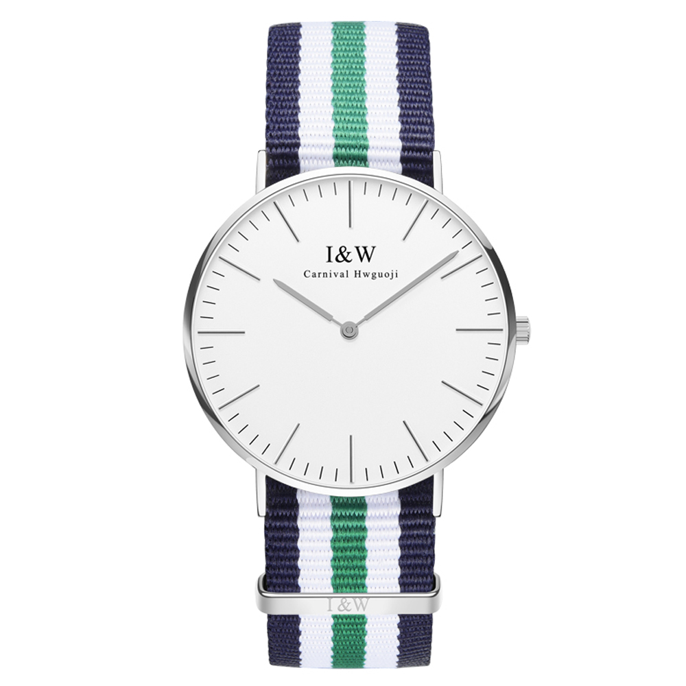 IW 8758G-2 men's and women's Quartz-Watch fabric Classic Canterbury Stainless Steel Watch With Multi-Color Striped  Band