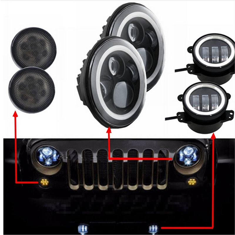 Pair JK Wrangler 7 inch Round led headlight + 4'' 60W LED Angel eyes Driving fog light lamp DRL + Front Turn signal for Jeep CJ 7inch round front light beam 40w led driving light headlight with angel eyes for jeep wrangler jk hummer