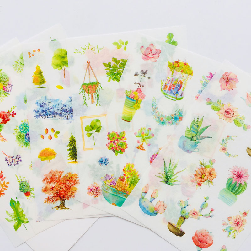 6 Sheets /Pack Washi Paper Cactus Green Plants Adhesive Stickers Decorative Album Diary Stick Label Hand Account Decor Stickers6 Sheets /Pack Washi Paper Cactus Green Plants Adhesive Stickers Decorative Album Diary Stick Label Hand Account Decor Stickers