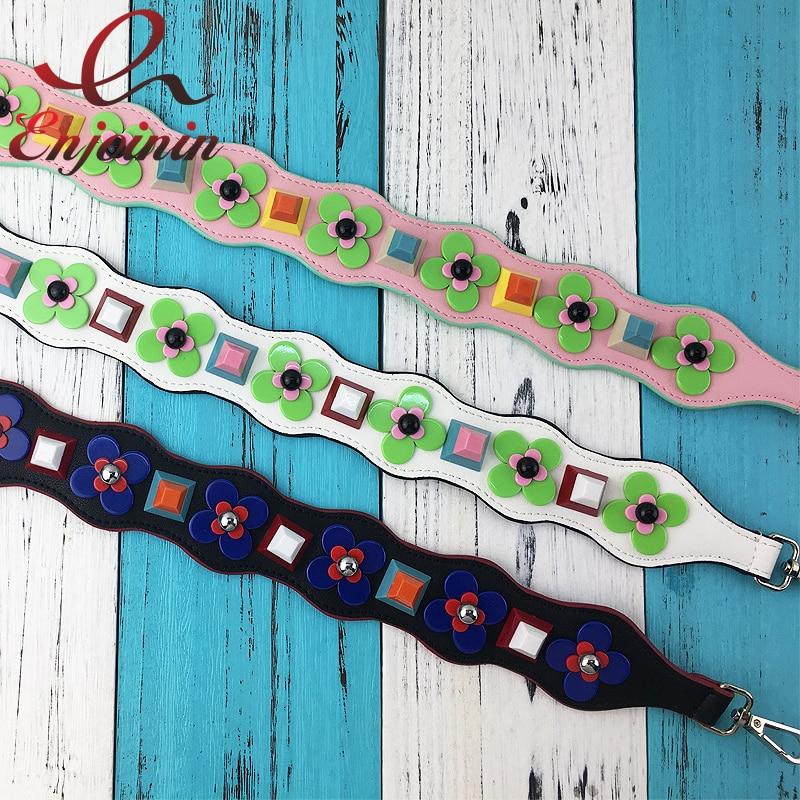 New style colorful plastic flowers rivets pu leather ladies handbag accessories shoulder strap belt 3 colors