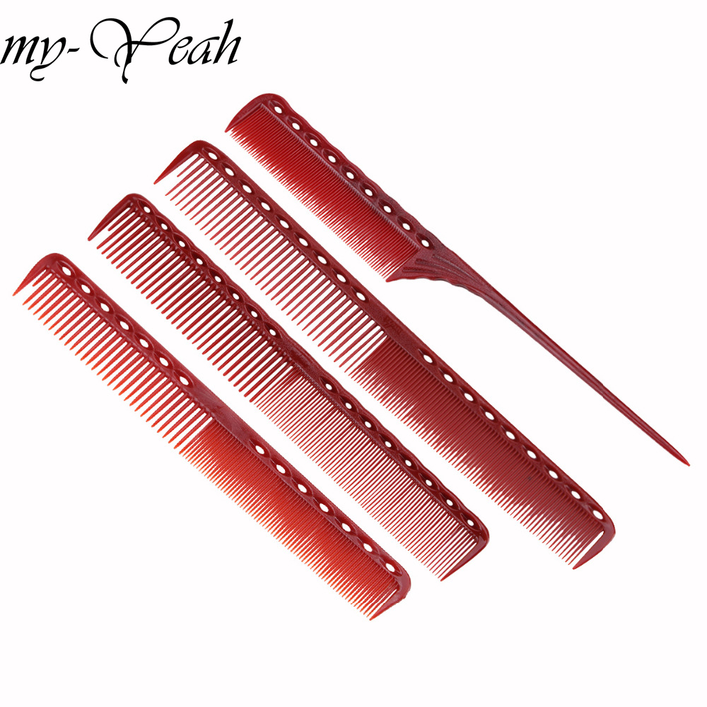 4pcs/set Anti-static Red Hairdressing Comb Detangling Platic Straightening Comb Barber Hair Different Design Combs Set