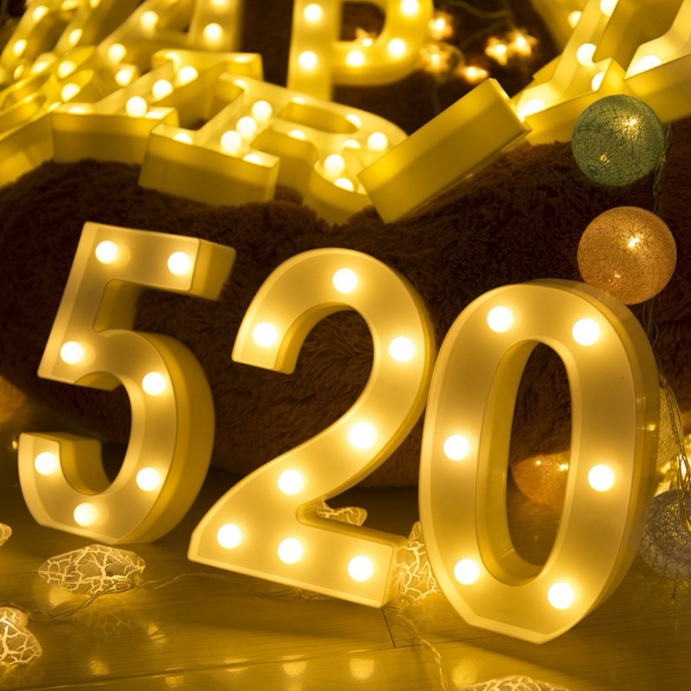 Numbers LED Night Light For Birthday Wedding Party DIY Wall ...