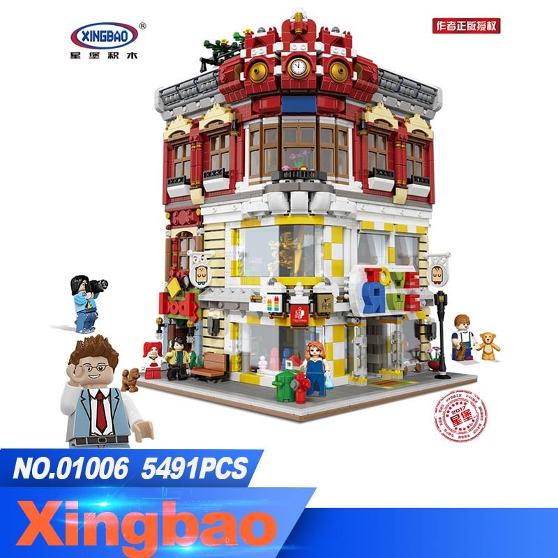 XingBao 01006 bloque 5491 piezas genuino Creative MOC City Series los juguetes y la librería Set bloques ladrillos juguete modelo regalo