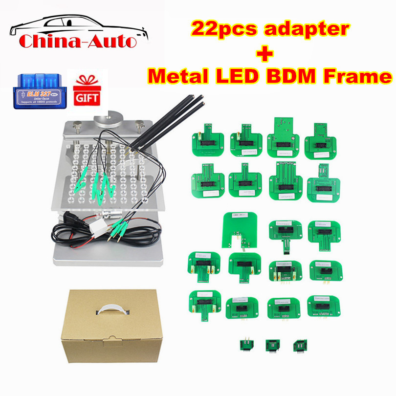 Stainless Steel LED BDM Frame With Full Set 22pcs Probe Adapters Chip Tunning For Fgtech V54