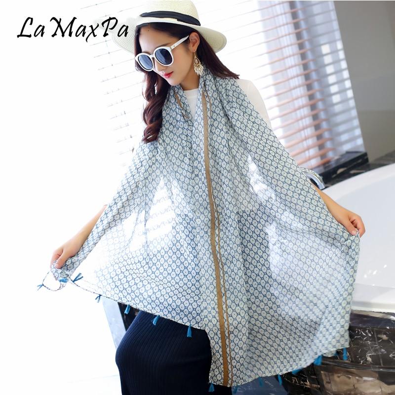 LaMaxPa New Design Women Scarf Fashion Shawl Scarf With Cotton Tassel Female Stylish Echarpe Mujer Pop Chal Vrouwen Grace Sjaals