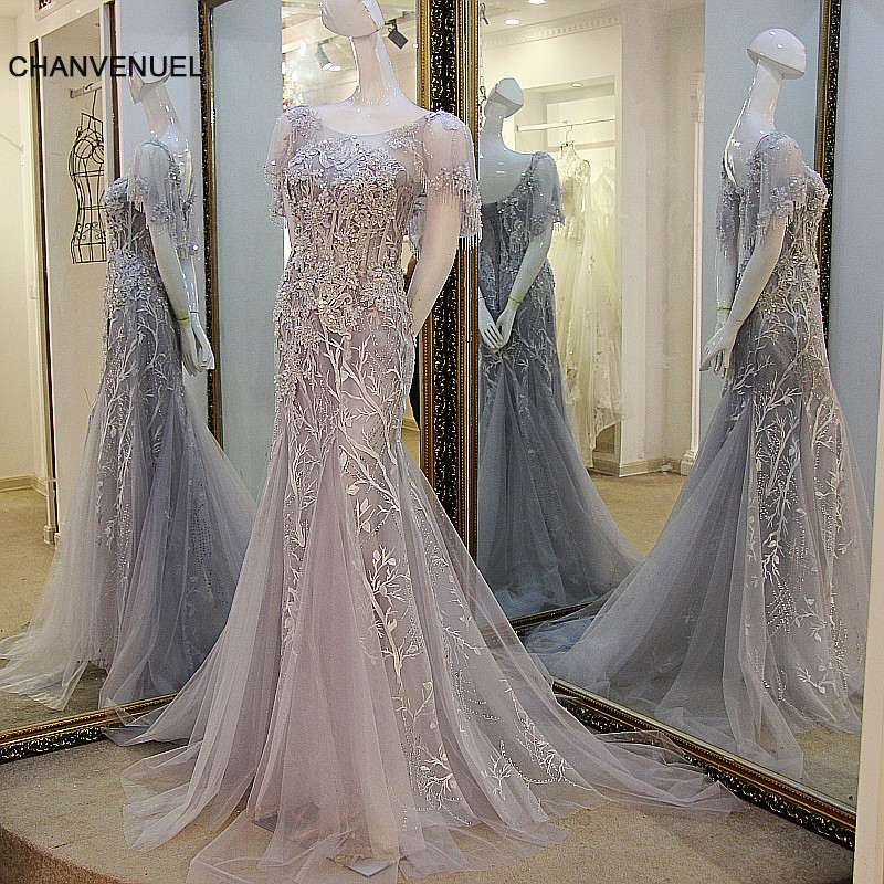 LS47705 Fashion long   dresses   for wedding lace up back back short sleeves appliqued lace mermaid   evening     dress   gray and ivory