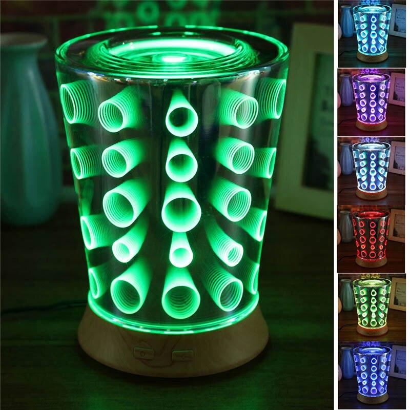 100 мл светодио дный Светодиодные ночные огни ультразвуковой ароматерапия эфирное масло диффузор домашний увлажнитель 3D эффект ультра-тихи...