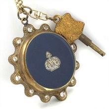 Синий драгоценный камень медь унисекс Карманные часы ожерелье ключ T688