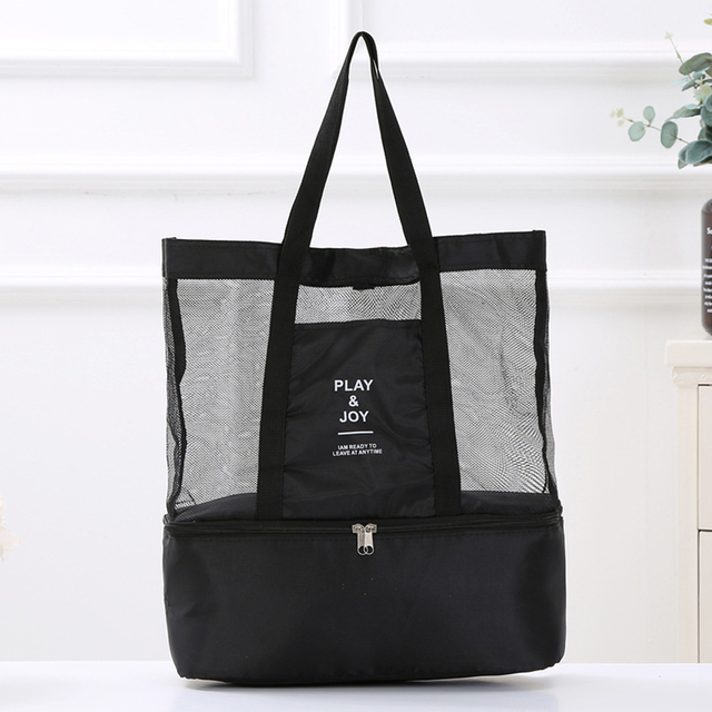 1Pc Women Mesh Transparent Bag Double-layer Heat Preservation Large Portable Insulated Picnic Beach Bags High Capacity New 2019 3