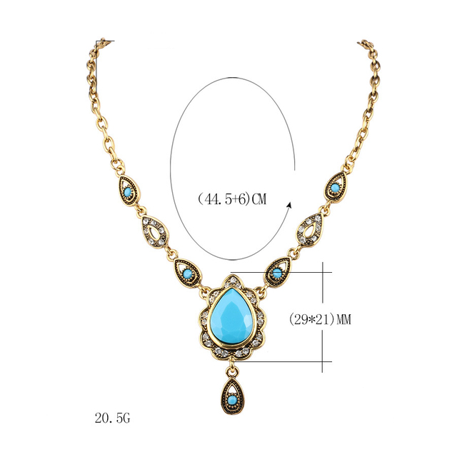 Yunkingdom Ethnic Turkish style Necklaces for Women Vintage Gold Color Water Drop Resin Pendant &Necklace Women Jewelry Wholes