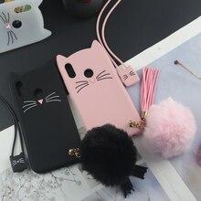Sevimli 3D Karikatür Silikon Kılıf için Huawei P20 Lite Kılıfları Japonya Glitter Sakal Kedi Güzel Kulaklar Kitty Telefon Kapak ...