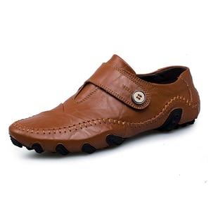 Image 2 - موضة النمط البريطاني الرجال حذاء كاجوال المتسكعون جلد أصلي للرجال أحذية في الهواء الطلق أحذية من الجلد الرجال أحذية الشتاء zapatos hombre