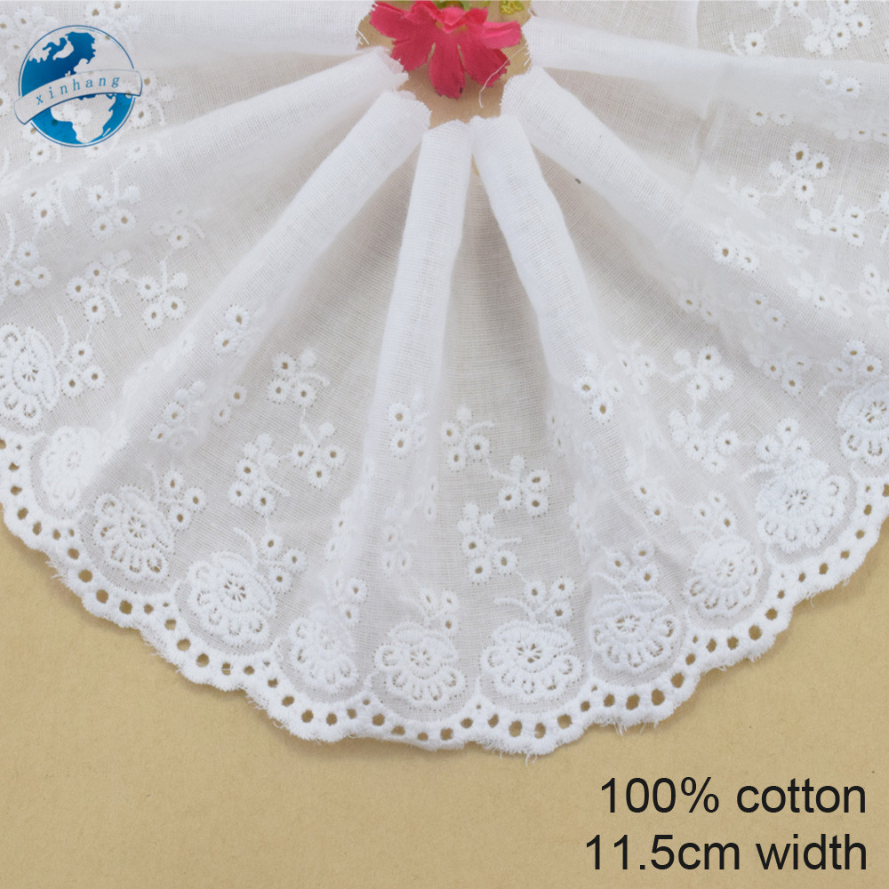 ᑎ‰11.5 cm blanco 100% algodón bordado cordón francés tela cinta ...