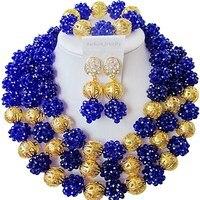 Новый стиль королевский синий африканские хрустальные бусины вечерние и ежедневное использование набор украшений для женщин 3C SJXJS 03