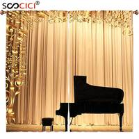 Window Curtains Treatments 2 Panels Concert Theatre Stage Drapes Grand Piano With Ornaments Modern Art Photo