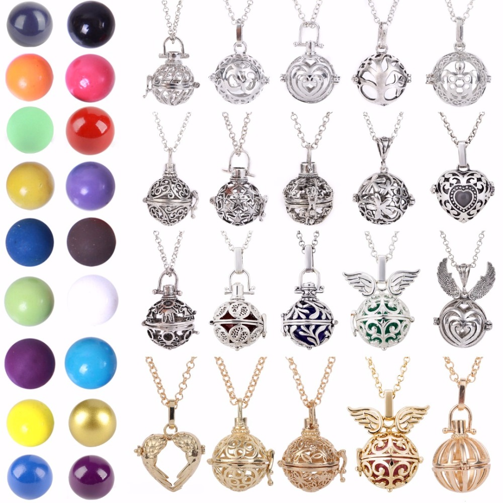 Shellhard Women Pregnancy Colourful Balls Necklace Making Mexico Balls Lockets Pendant Necklace For Women Jewellery Gift