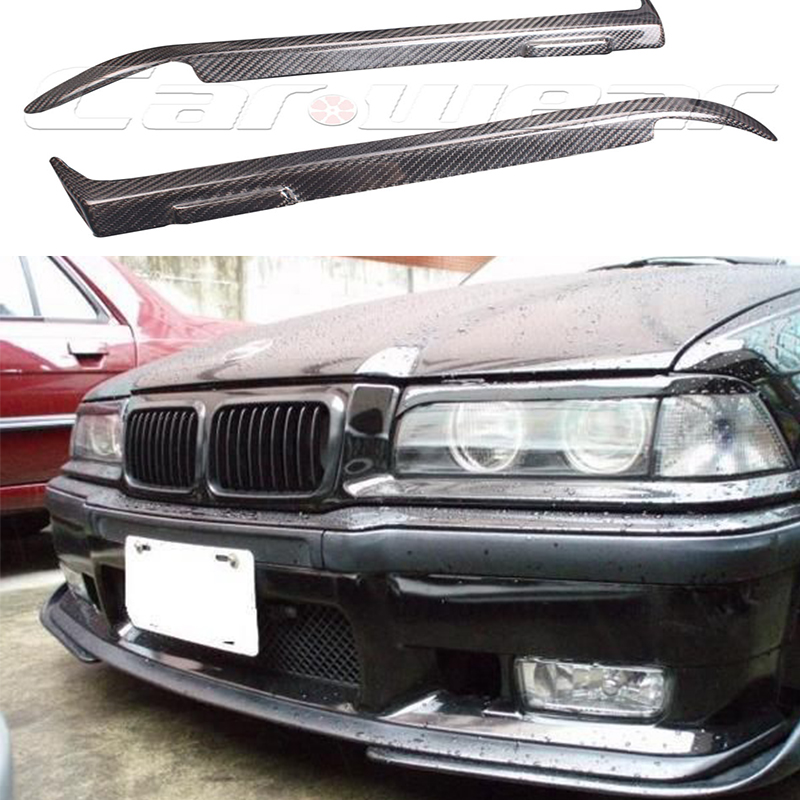 E36 Carbon Fiber Car Headlight Eyelid Eyebrows Cover Trim Sticker for BMW E36 1990-2000 for bmw e36 318i 323i 325i 328i m3 carbon fiber headlight eyebrows eyelids 1992 1998