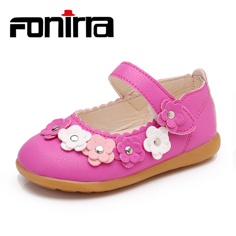 New Fashion Girls Shoes Spring Autumn Comfortable Flat Shoes for Children Girls Princess Flats with Flower Fonirra 392