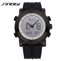 Hot SINOBI Watch Men Top Brand Luxury Led Digital Analog Quartz Watch Silicone Strap Military Sports Watches Mens Hodinky 9368