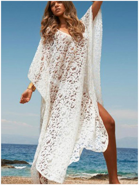 27a6f7759e4 Beach Cover Ups Sexy V Neck Beach Kaftan Dress Elegant Long Sleeve Maxi  White Lace Casual Beachwear Bathing Suit Swimsuit