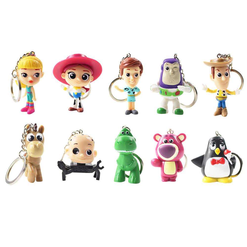 10 unids lote 6-7 cm Toy Story llavero lindo Buzz lightyear Jesse Woody 23464e00117