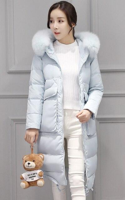 9ed2525383a7 Women's 2018 luxury large fur collar thickening medium-long over-the-knee  slim down coat light blue black pink big oversized xl