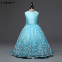Baby Girl Clothes Children Tutu Princess Dress Kids Sleeveless Dress Snow Printing Toddler Blue Color Dress Girl Vestido Costume