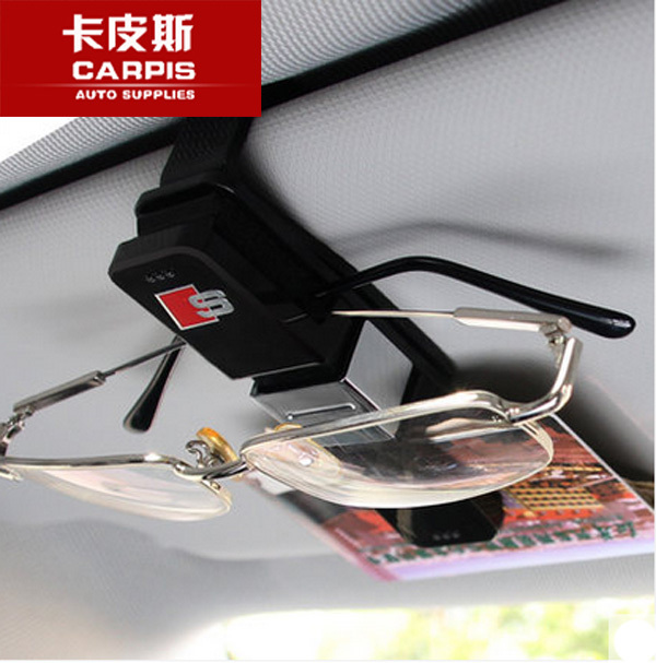 Universal Car Glasses Holder Case Muiti-purpose Cards Clip Sun Visor Clamp For Audi A3 A4 A5 A6 A7 A8 Q3 Q5 Q7 RS TT Car Styling