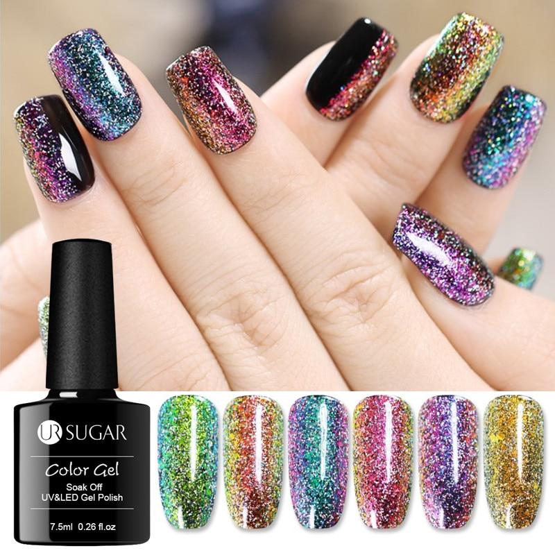 UR SUGAR 7.5ml Chameleon Holographic Gel Polish Starry Sparkle Glitter Soak Off UV Gel Varnish Long-lasting Nail Art  Lacquer
