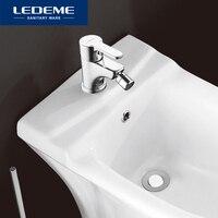 LEDEME bide musluk banyo tek delikli krom bitmiş güverte üstü pirinç mikser sıcak ve soğuk musluk bide musluk L5003