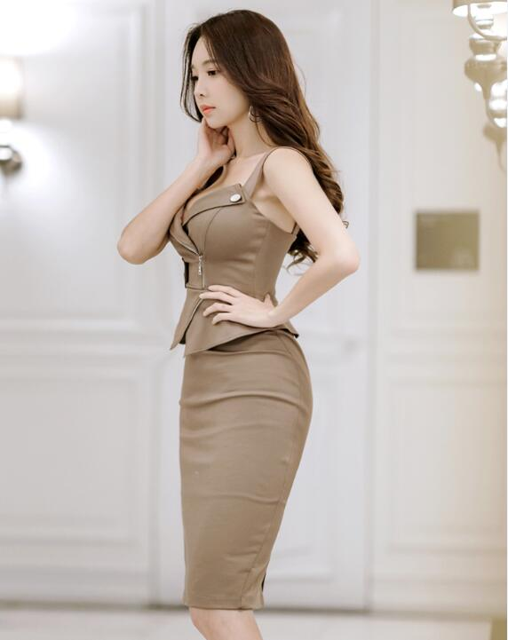 6c99ebac8727 Orgreeter Korean Summer Sleeveless Slim Dress Sexy Deep v Strapless Knee  length Dress Fitting cut Office Lady Work Wear Dress -in Dresses from  Women's ...