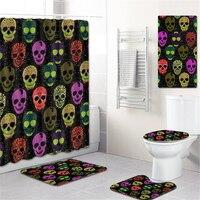 5pcs 3D Skull Bathroom Decor Bath Curtain Non slip Flannel Toilet Carpet Rugs Bath Mat Set Shower Curtain Set