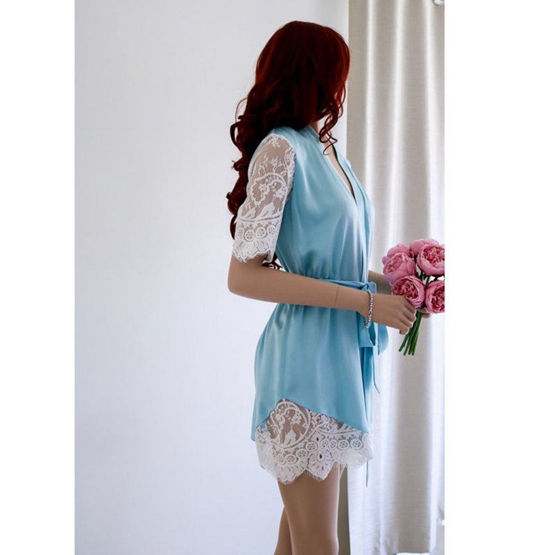 Sexy Short Sleeve Lace Embroidered Women's Solid Color Bathrobe Ice Silk Lace Robe Summer Cool Wearing