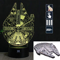 HY Millennium Falcon 3D Remote LED Night Light Touch Table Desk Lamp 7 Color Change USB LED Charger Gift Multifunction Card