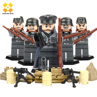 6pcs Set Baby DIY Self Locking Bricks Military Series Blocks Sets ABS Plastic Army Children
