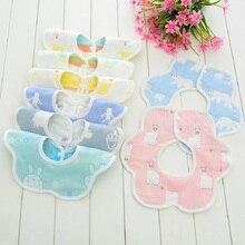 360 Degree Rotation Baby Bibs 6 Layers Gauze Soft Newborn Infant Burp Saliva Towel Kids Bandana Cloths