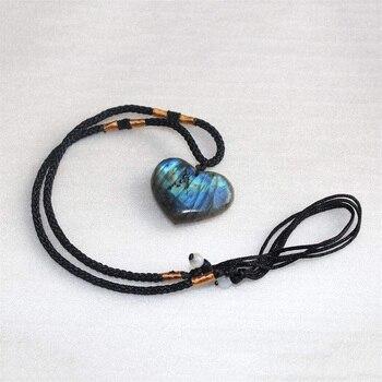 Collier en forme de c ur amour naturel pour femmes collier Long avec pendentif en pierre
