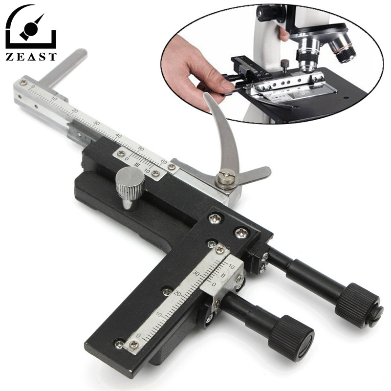 Microscope Moveable Stage Caliper With Scale Attachable Mechanical Stage X-Y High-precision Vernier Biological promotion add on x y graduated microscope mechanical stage attachment for compound microscope with scale microscope accessory