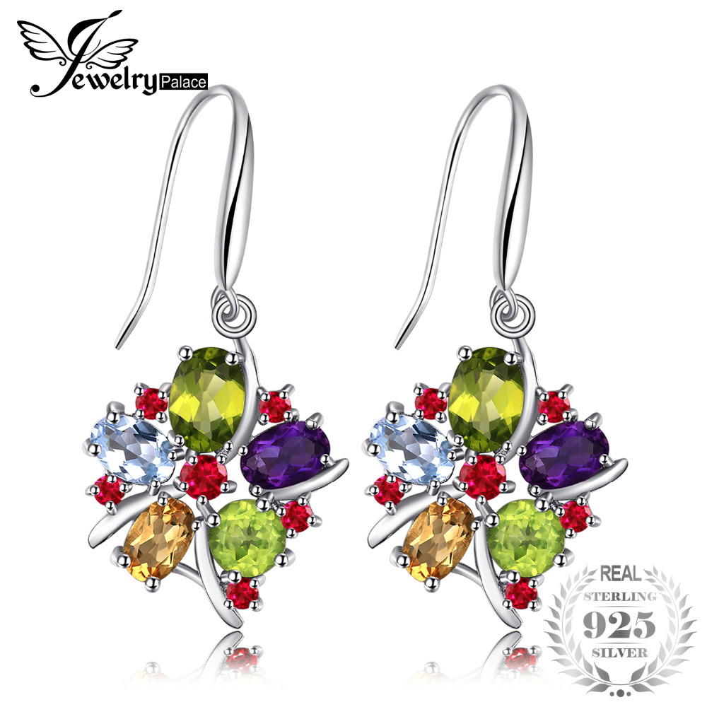 JewelryPalace Flower Multicolor 6.2ct Natural Peridot Citrine Blue Topaz Amethyst Garnet Dangle Earrings 925 Sterling Silver diva 5 0ct natural swiss blue topaz sterling silver feather dangle earrings
